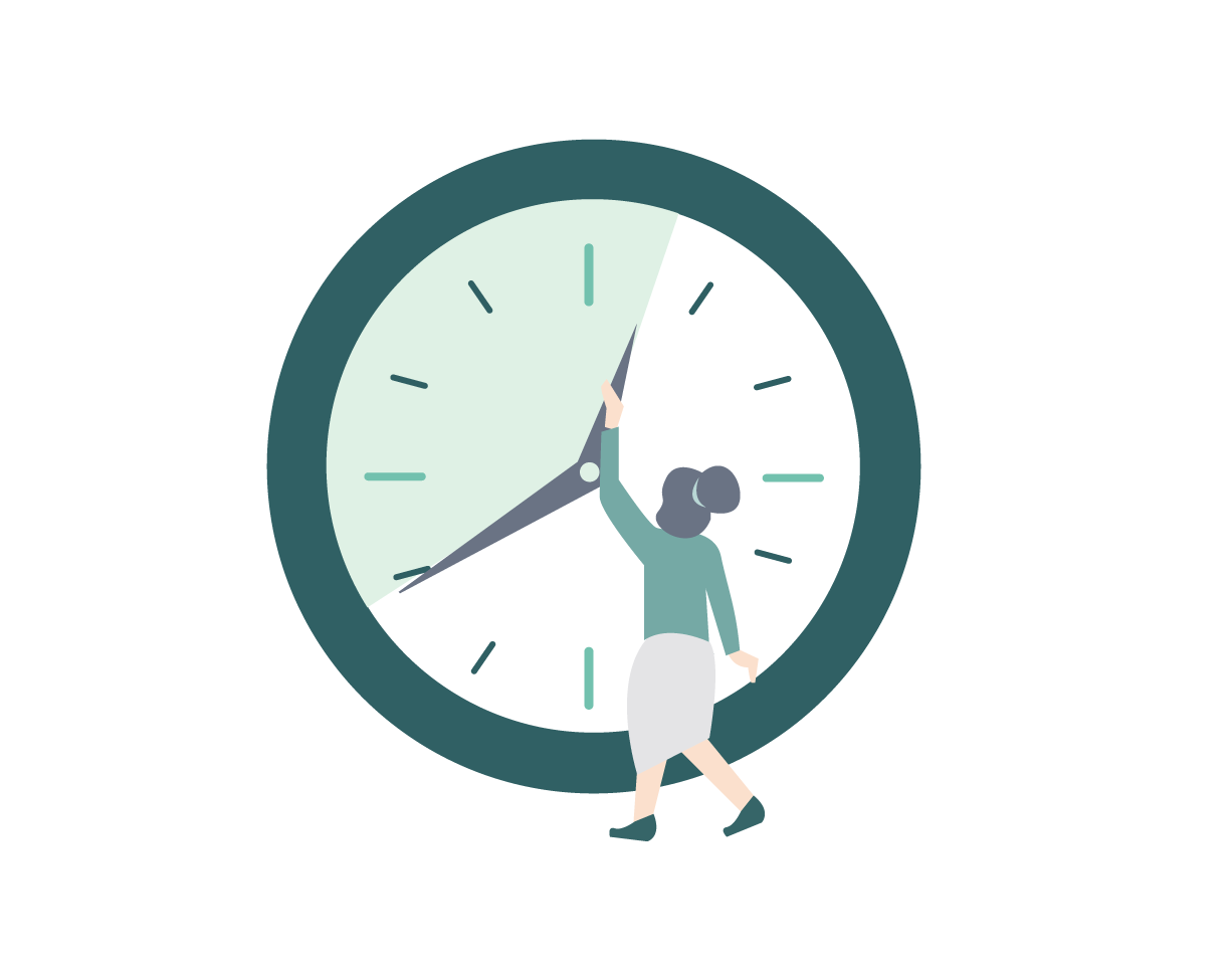 Icon of woman adjusting analog clock