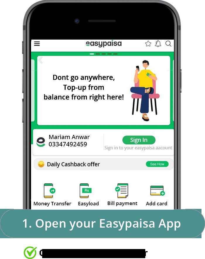 Easypaisa step 1
